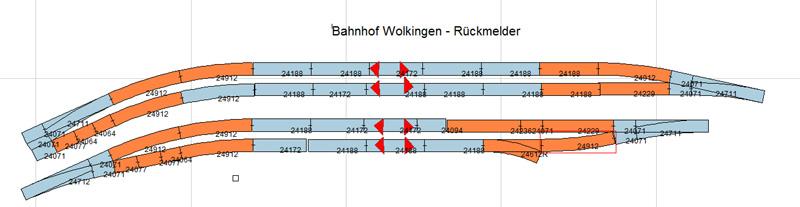 Gleisplan Bahnhof Wolkingen - Rückmelder