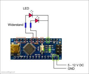 Arduino Nano Schaltplan mit LED
