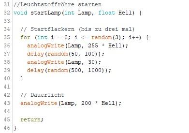 Sketch Methode startLamp