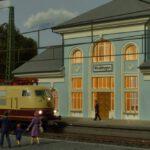 Bahnhof Wolkingen beleuchtet